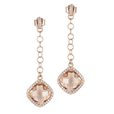 Earrings with pin of zircons and pendant peach