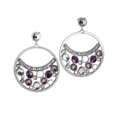 Earrings Pendant with a circle and Swarovski Crystals
