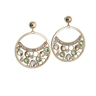 Circle Earrings Pendant with Swarovski crystal, chrysolite and gold