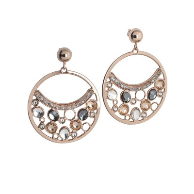 Circle Earrings Pendant with Swarovski crystal, peach and silver night