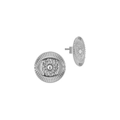 Rhodium-plated lobe earrings with Horus eye and Swarovski