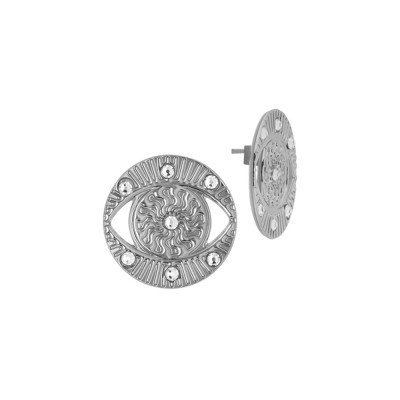 Earring eye of Horus rhodium plated with Swarovski