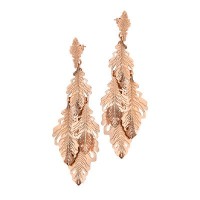 Rose gold plated pendant earrings with tuft of leaves