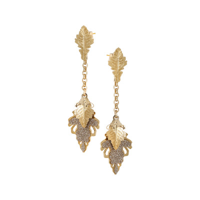 Yellow gold plated earrings with tufts of smooth and glittery hanging leaves