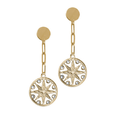 Yellow gold plated earrings with wind rose pendant and Swarovski