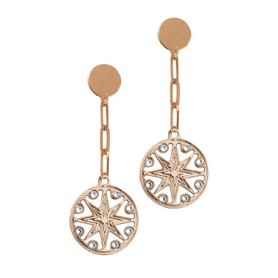 Rose gold plated earrings with wind rose pendant and Swarovski