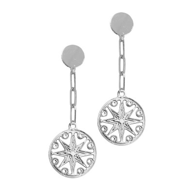 Rhodium-plated earrings with wind rose pendant and Swarovski