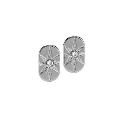 Rhodium-plated lobe earrings and Swarovski