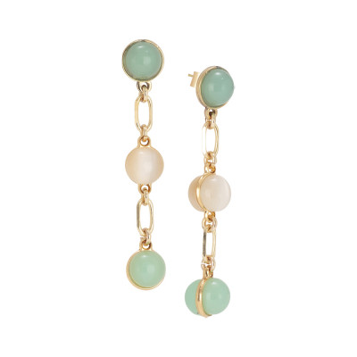Earrings with green and beige cabochons