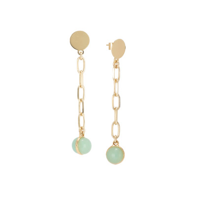 Chain earrings with milk and opaque mint cabochon