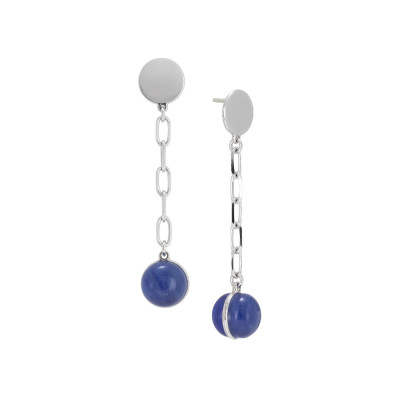 Chain earrings with large rutilated blue cabochon