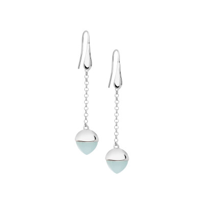 Hook earrings with aquamarine crystal