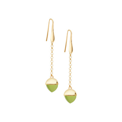 Hook earrings with olivine-colored crystal