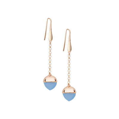 Hook earrings with chalcedony-colored crystal