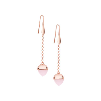 Hook earrings with rose quartz colored crystal