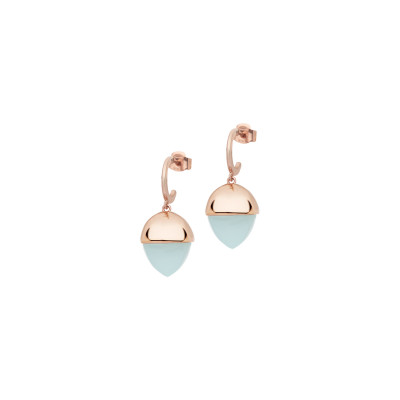 Crescent earrings with aquamarine pyramidal crystal