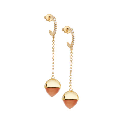 Crescent earrings with zircons and carnelian-colored crystal
