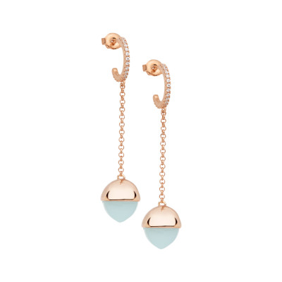 Crescent earrings with cubic zirconia and aquamarine crystal