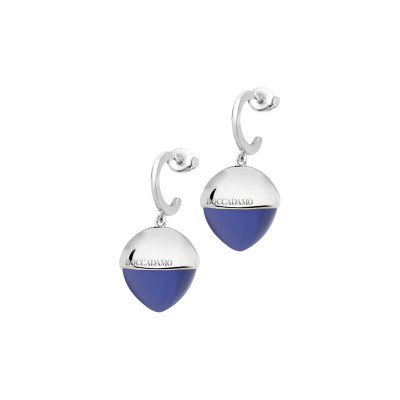 Crescent earrings with large tanzanite-colored crystal
