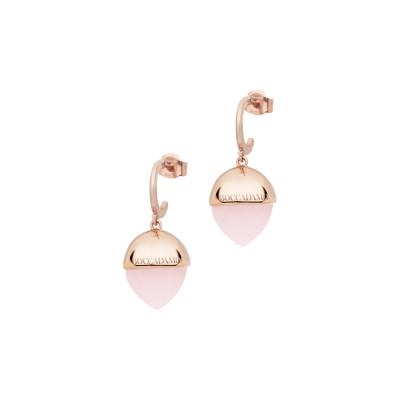 Crescent earrings with large rose quartz color crystal