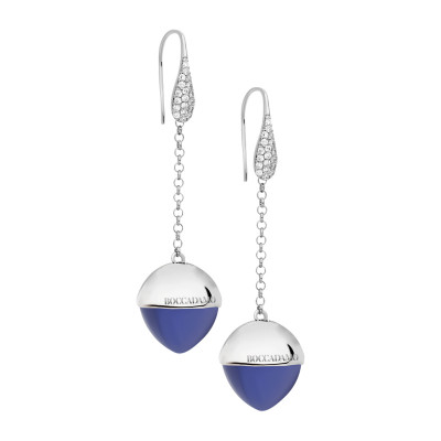 Hook earrings with zircons and tanzanite-colored crystal
