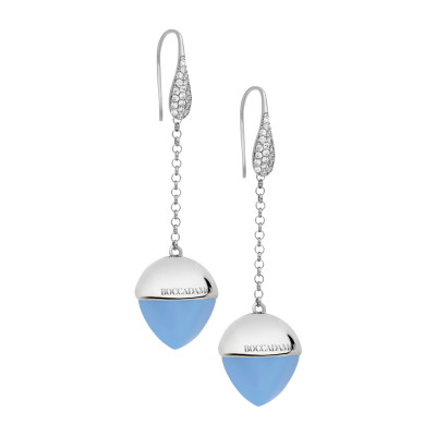 Hook earrings with zircons and chalcedony-colored crystal