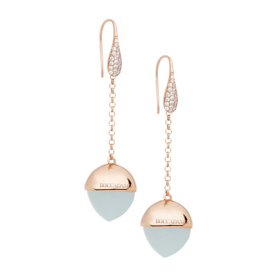 Hook earrings with zircons and aquamarine crystal