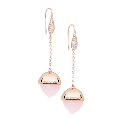 Hook earrings with zircons and rose quartz colored crystal