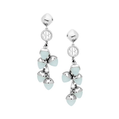 Earrings with aquamarine-colored pendant crystals