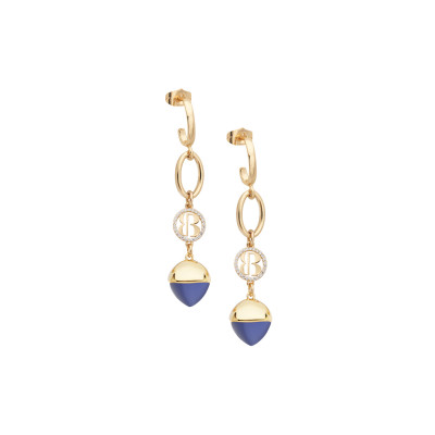 Crescent earrings with tanzanite-colored crystal pendant