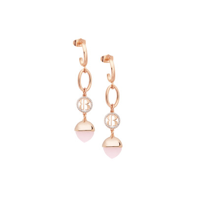 Crescent earrings with rose quartz colored crystal pendant