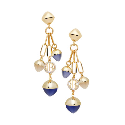 Earrings with tanzanite-colored pendant crystals and moonstone