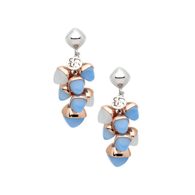 Tufted earrings with aquamarine and chalcedony crystals