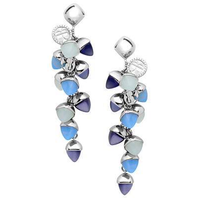 Cluster earrings with tanzanite, chalcedony and aquamarine crystals