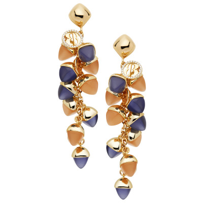 Cluster earrings with tanzanite crystals, moonstone and carnelian