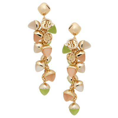 Cluster earrings with olivine crystals, moonstone and carnelian