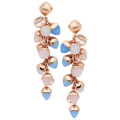 Cluster earrings with chalcedony, rose quartz and aquamarine crystals