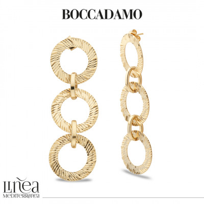 Yellow gold-plated stud earrings with diamond effect