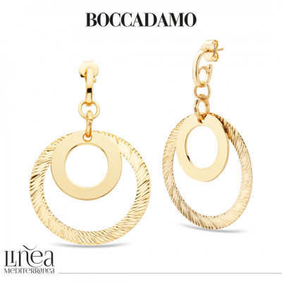 Yellow gold plated earrings with concentric circular pendant