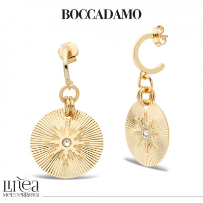 Yellow gold plated pendant earrings with Swarovski