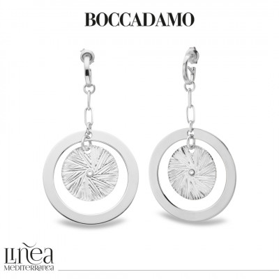 Rhodium plated earrings with concentric pendant and Swarovski