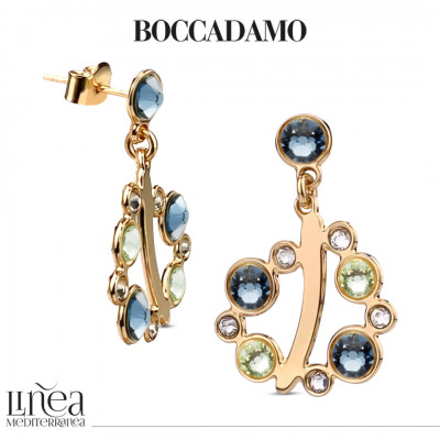 Earrings with Swarovski crystal, chrysolite and denim blue