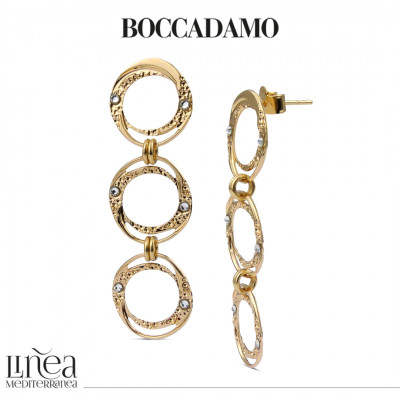 Yellow gold plated earrings with dangling circles with Swarovski