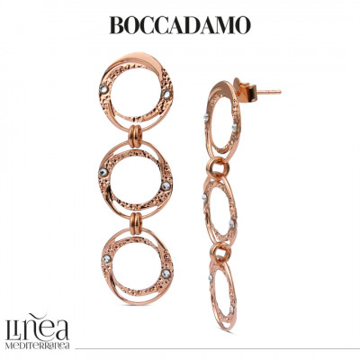 Rose gold plated earrings with dangling circles with Swarovski