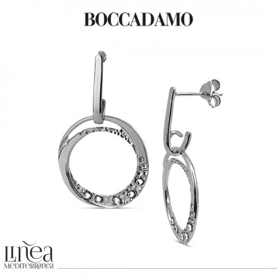 Earrings with pendant circle and Swarovski