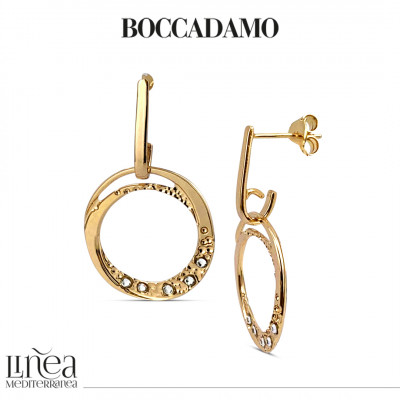 Yellow gold plated earrings with pendant circle and Swarovski