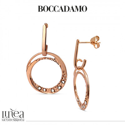 Rose gold plated earrings with pendant circle and Swarovski