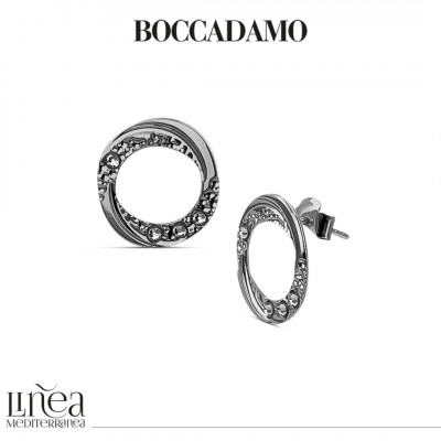 Lobe earrings with pendant circle and Swarovski