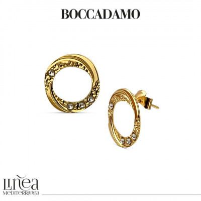 Yellow gold-plated stud earrings with pendant circle and Swarovski