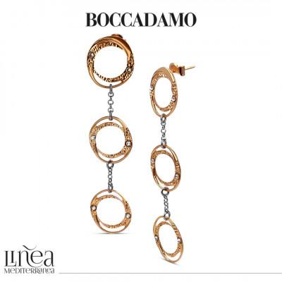 Rose gold plated pendant hoop earrings with Swarovski
